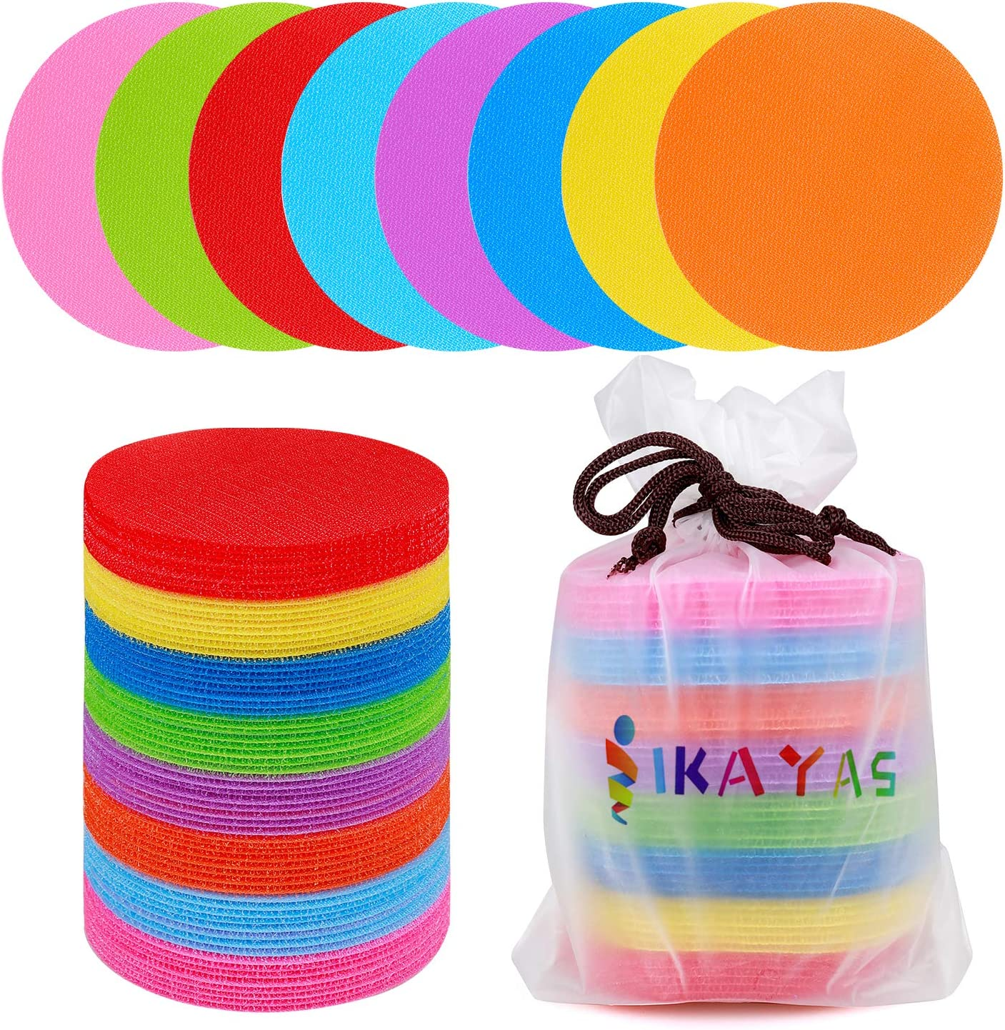 IKAYAS 64 Pcs Carpet Standing Dot Standing Spots Carpet Stanidng Spots Markers, Carpet Circles Dots Standing Dots Spots Circle Spots for Kids, 8 Colors