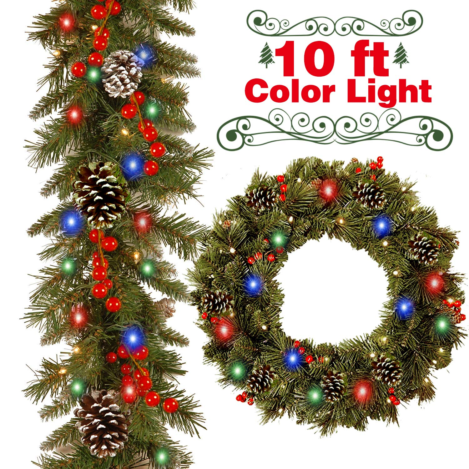 Christmas Garland Decorations with 50 LED Lights,10 Ft Christmas String  Lights Multicolor for Christmas Tree with 18 Pine Cone 20 Berries,Xmas LED  Garland ...