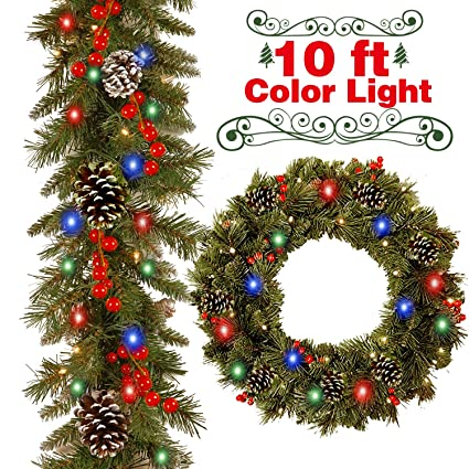 Christmas Garland Decorations With 50 Led Lights 10 Ft Christmas String Lights Multicolor For Christmas Tree With 18 Pine Cone 20 Berries Xmas Led