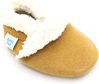 Dotty Fish Suede Baby Slippers. Fleece Lined. 0-6 Months to 4-5 Years. Navy, Soft Grey, Pink and Tan. Non-Slip Soft Sole. Toddler. Young Kids.