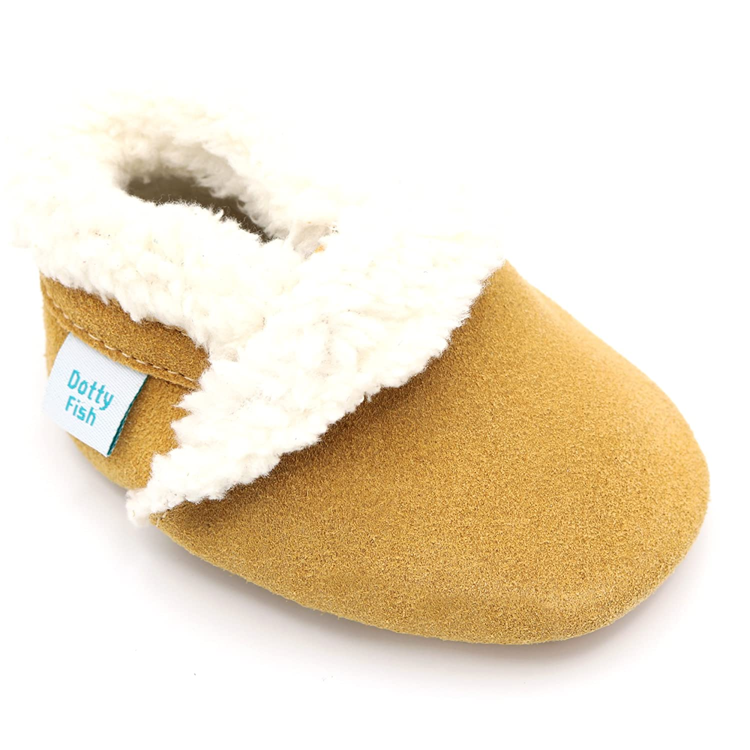Dotty Fish Suede Baby Slippers. Toddler. Young Kids. Fleece Lined. Navy, Soft Grey, Pink and Tan. Non-Slip Soft Sole. 0-6 Months to 4-5 Years