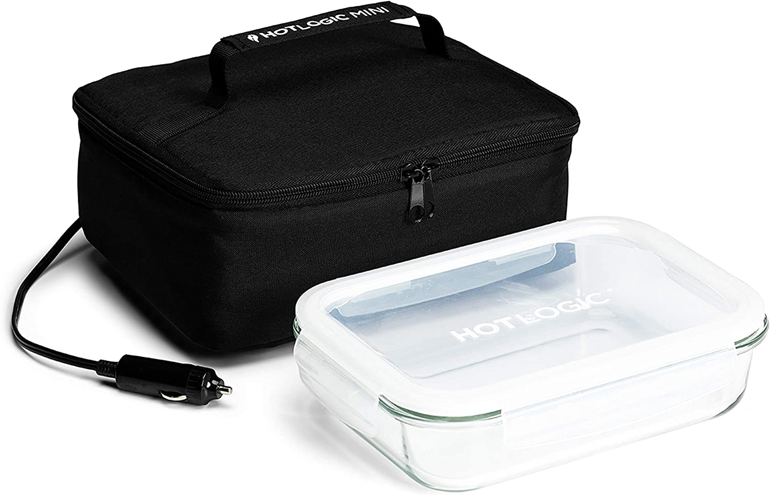 HotLogic 16801189-BLK Food Warming Tote Lunch Bag 12V with Glass Dish, Black