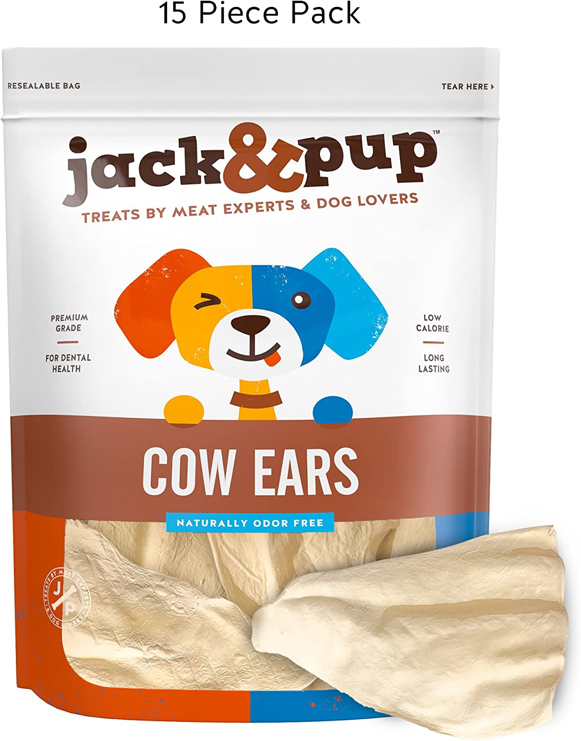 Jack Pup Prime Tender Hearty Thick Cow Ears Odor Free Dog Treats, 15 Pack Premium Grade Long Lasting All Natural and Unflavored Gourmet Dog Treat Chews Fresh Tasty Low-Calorie Treat