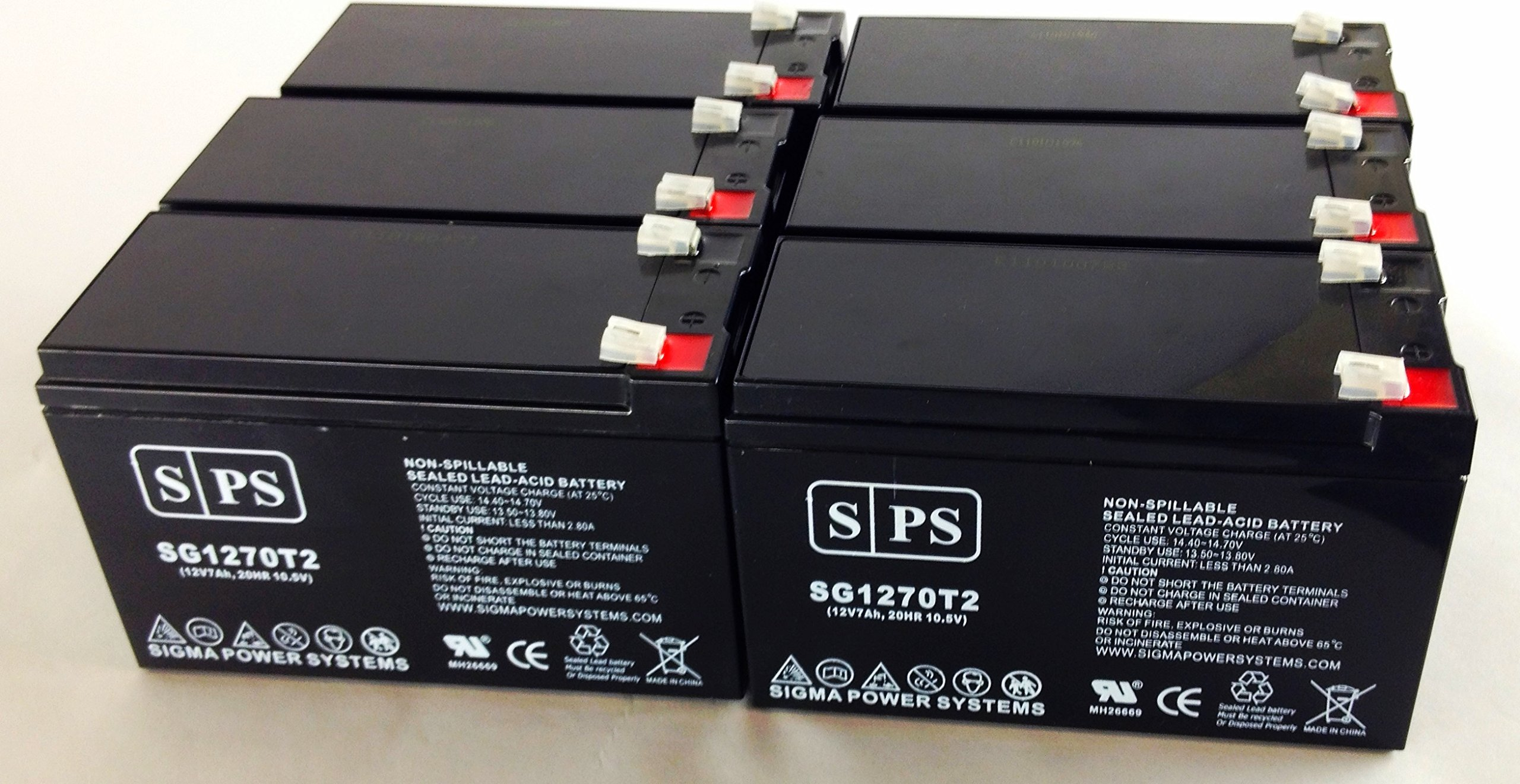 12V 7Ah (From SPS) APC BackUPS Professional PowerCell UPS Replacement Battery (6 Pack)