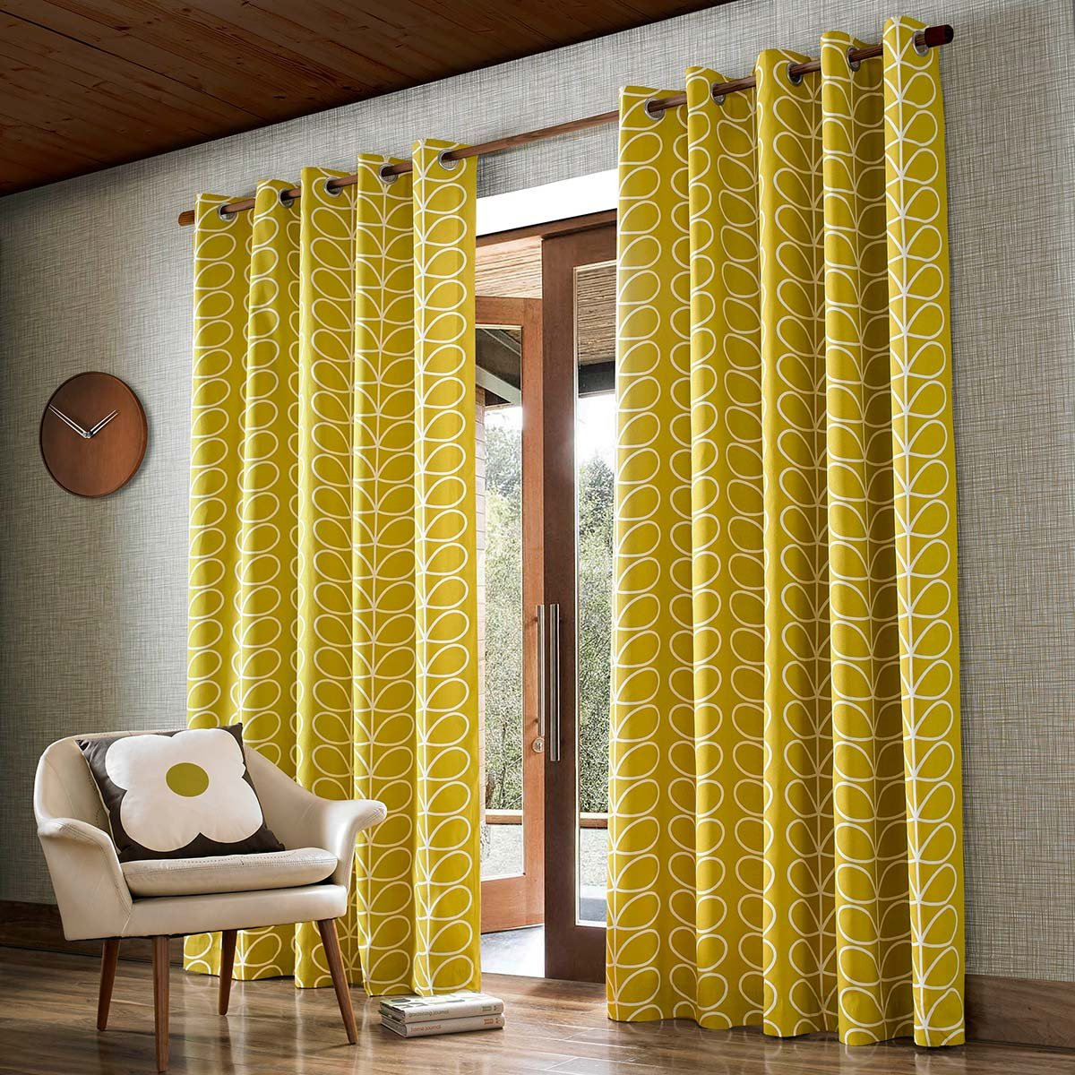 Orla Kiely Linear Stem Eyelet Curtains, Dandelion - Width 66