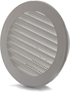 Vent Systems 4'' Inch WhiteSoffit Vent Cover - Round Air Vent Louver - Grill Cover - Built-in Insect Screen - HVAC Vents for Bathroom, Home Office, Kitchen