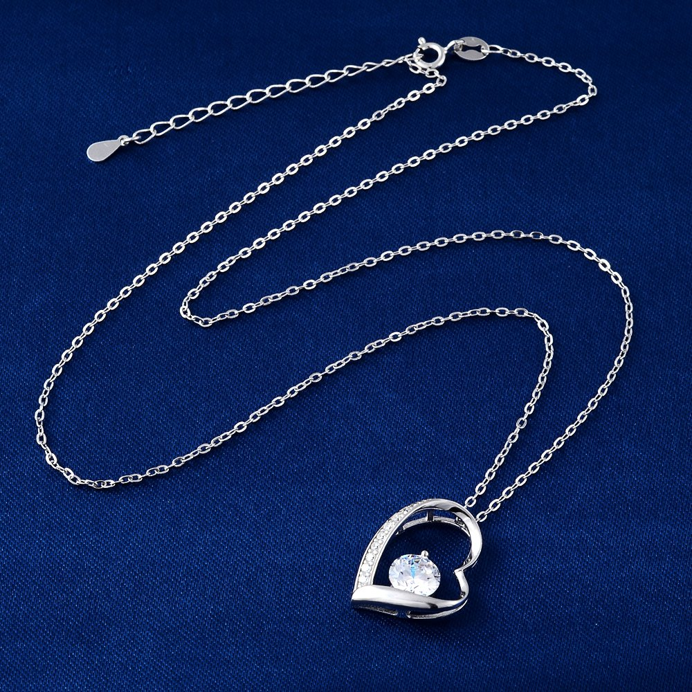 White Crystal Heart Pendant Necklace Jewelry for Women and Girls Purple mis
