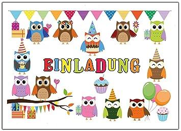 Eulen Einladungskarten Zum Kindergeburtstag Einladung Geburtstag Kinder Set  Eule Jungen Mädchen 12 Stück Luftballons Party Lustig