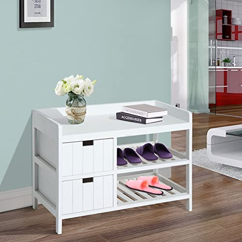 HOMCOM Compact Rustic Padded Wooden Shoe Rack Bench Organizer with Drawers – Country White