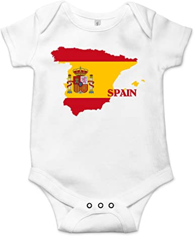 Made in Spain Baby Onesie Bright Colors Newborn Gift-Flag-Travel