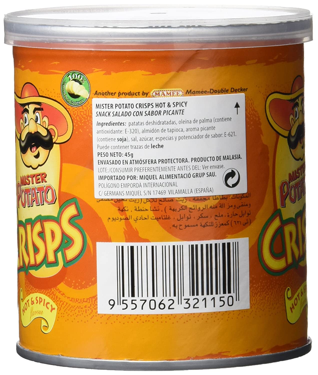 Mister Potato - Crisps Hot & Spicy - Snack salado con sabor ...