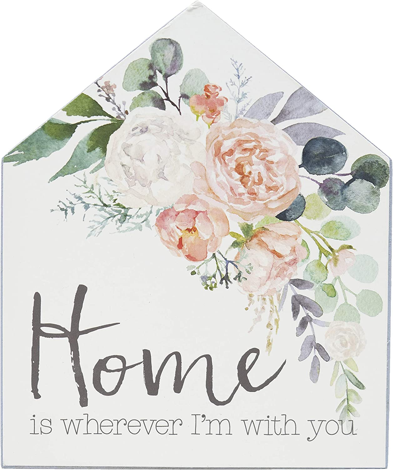 ReLIVE Decorative Expressions 6x5 Wooden Painted House Sign Home is Wherever I'm with You