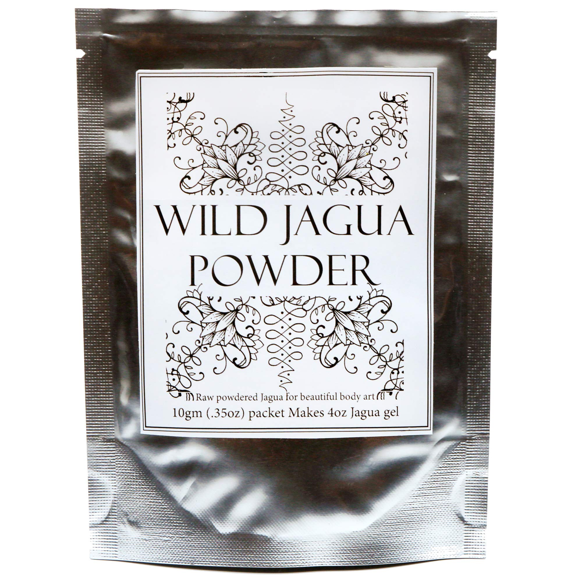 Premium Raw Jagua (Genipa americana extract) Powder-Mix. Makes 4oz Black Gel Ink for Henna-Style Temporary Tattoos