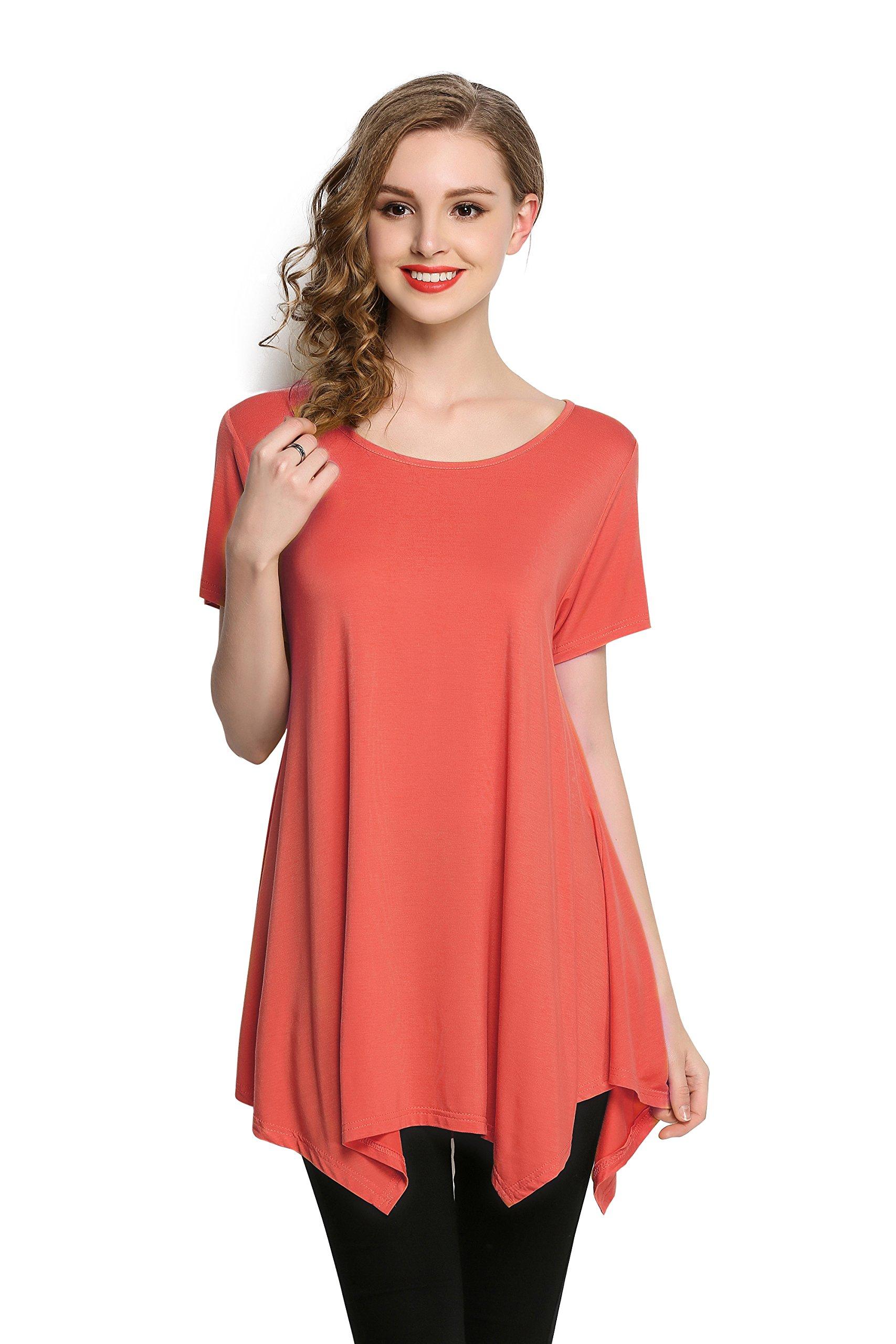 a93ea3daac7 LARACE Womens Swing Tunic Tops Loose Fit Comfy Flattering T Shirt (M,  Watermelon). by LARACE