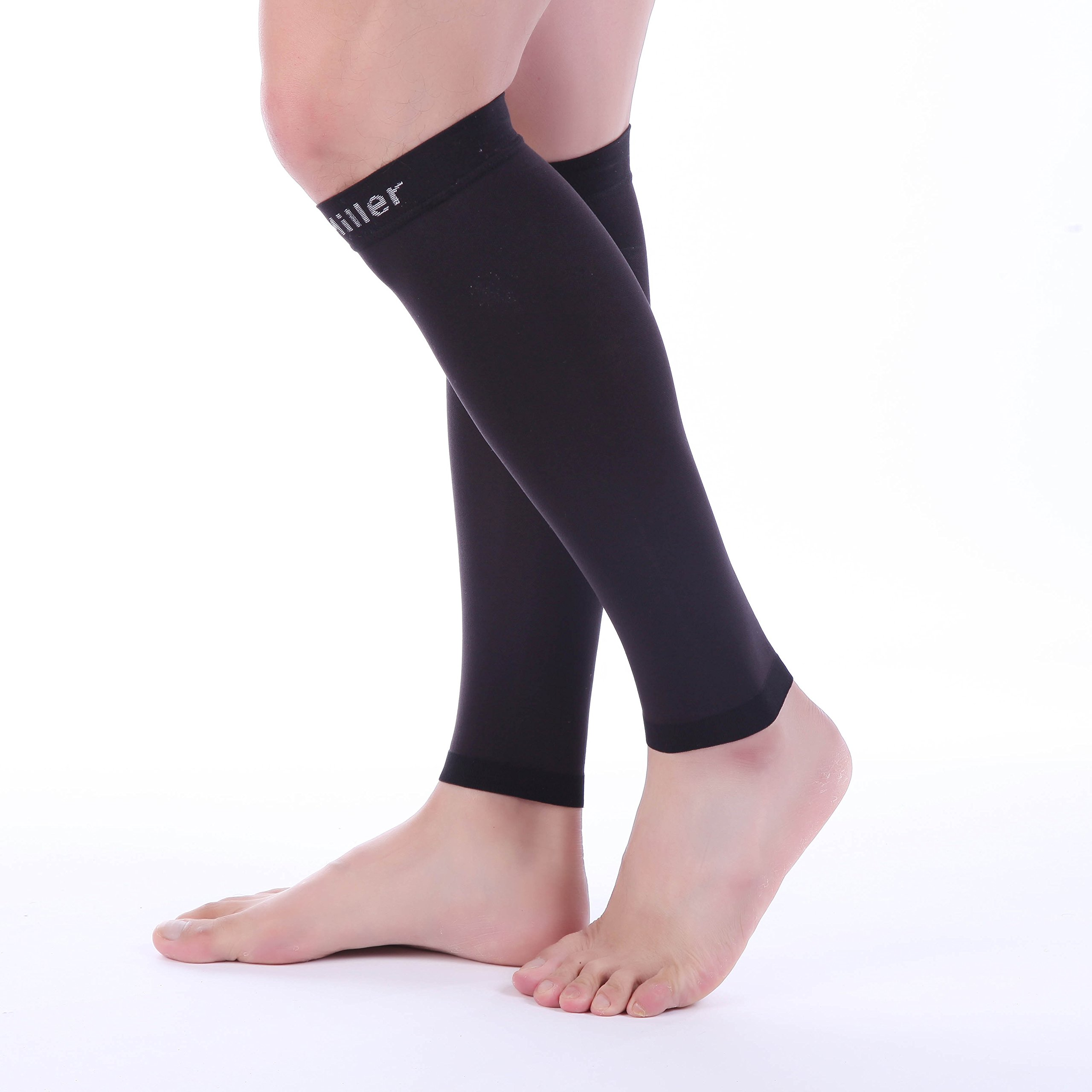 Doc Miller Premium Calf Compression Sleeve 1 Pair 20-30mmHg Strong Calf Support Graduated Pressure for Sports Running Muscle Recovery Shin Splints Varicose Veins (Black, 2-Pack, Small) by Doc Miller (Image #9)