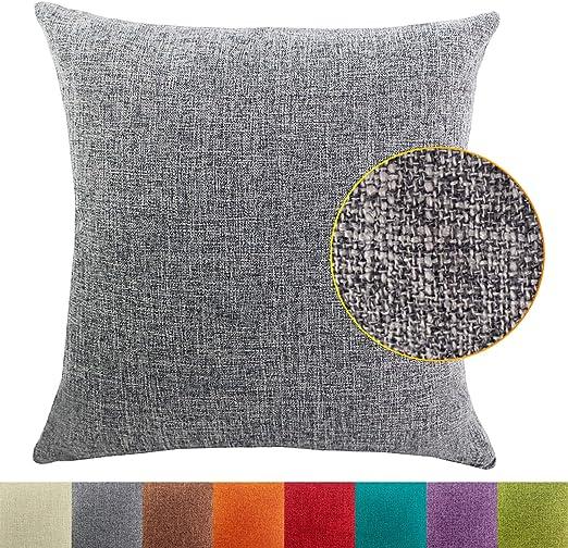 DimaiGlobal Funda de Cojín Algodón de Lino de Color sólido Square Decorativos Felpa Throw Funda de Almohada para Hogar Dormitorio Sofá Coche Cama Fundas de Cojines Gris 50X50CM: Amazon.es: Hogar