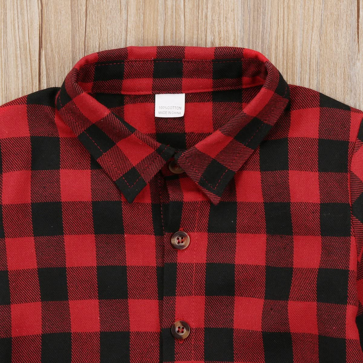6T, Red Kids Little Boys Girls Baby Letters Print Long Sleeve Button Down Red Plaid Flannel Shirt