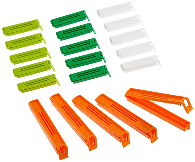Kitchen Craft Bag Clips Assorted Sizes, Mixed Bag of Twenty, Bagged Home Kitchen Chef Cook