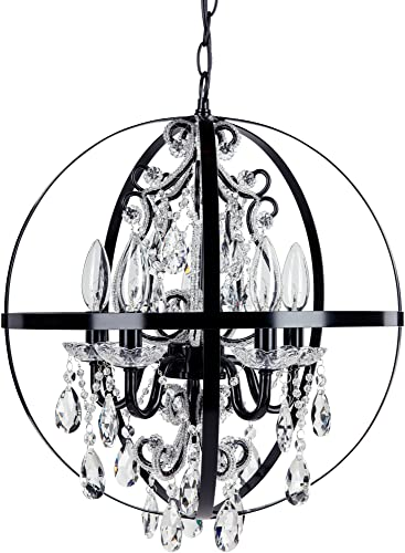 Amalfi Decor 5 Light Orb Crystal Beaded Chandelier, LED Wrought Iron K9 Glass Pendant Light Fixture Contemporary Nursery Kids Room Round Dimmable Plug in Hanging Ceiling Lamp, Black