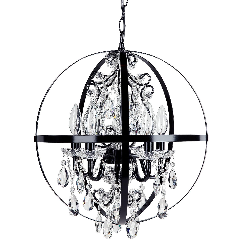 Luna black orb chandelier metal round sphere plug in 5 light swag glass crystal pendant globe ceiling lighting fixture lamp