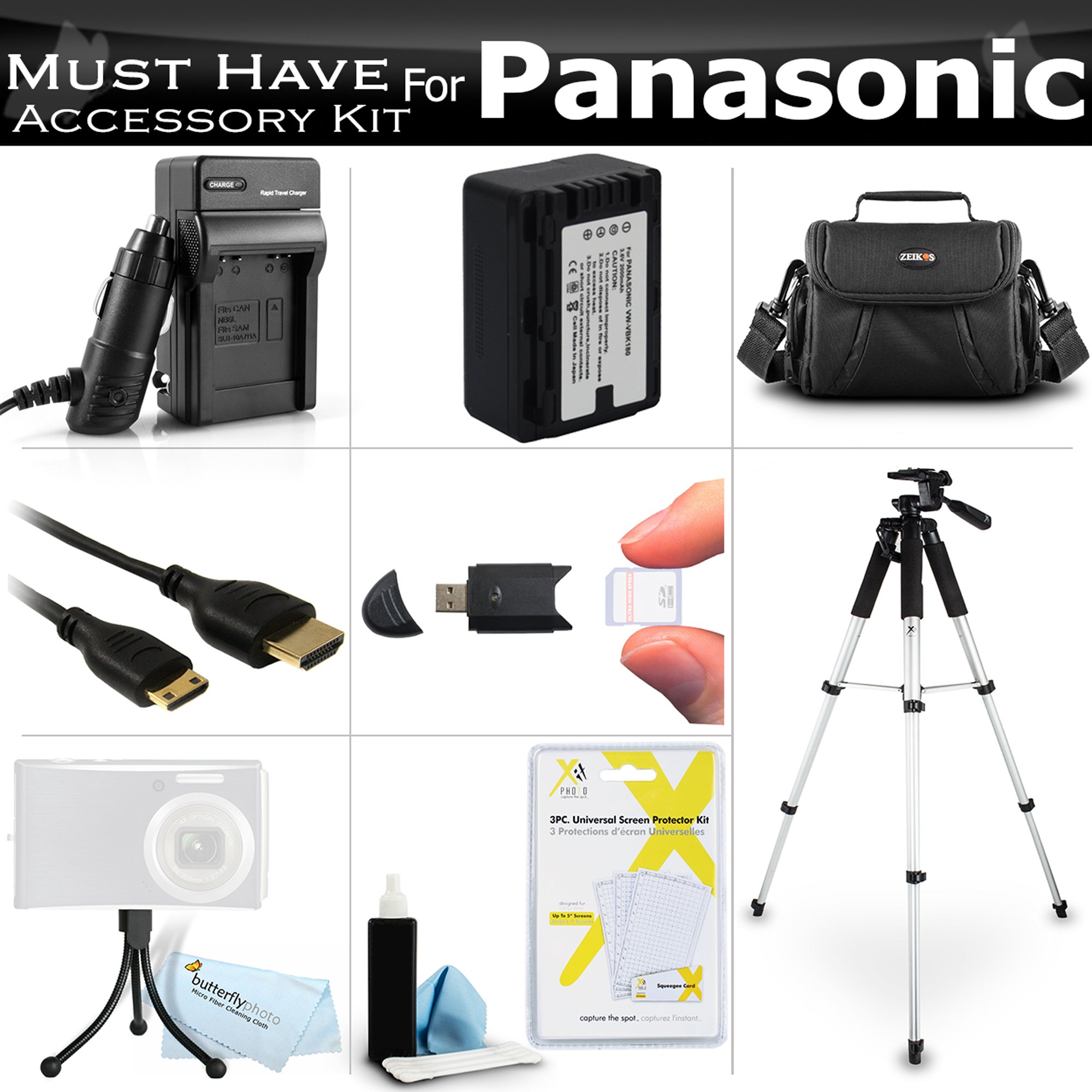 Must Have Accessory Kit For Panasonic HC-V700, HC-V700M, HC-V500, HC-V500M, HC-V100, HC-V100M, HC-V10 Camcorder Includes Replacement (2000Mah) VW-VBK180 Battery + Ac/ Dc Charger + Deluxe Case + Tripod + Mini HDMI Cable + USB 2.0 SD Reader + Much More by ButterflyPhoto