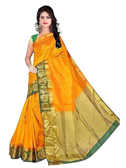 f20096f5a Pemal Designer Women s Tassar Silk Saree (Hvm113 Yellow)  Amazon.in   Clothing   Accessories