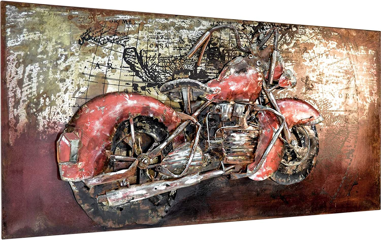 M/ÖBEL IDEAL 3D Metallbild Chopper Wandbild 60 x 120 cm Bild Motorrad aus Metall in Handarbeit