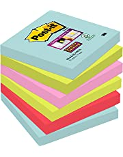 Post-it Notes 76 x 76 mm Super Sticky Notes, Miami Colour Collection, 6 Pads (90 Sheets per pad)