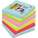 Post-it Foglietti Super Sticky, 90 Fogli, Confezione da 6 Blocchetti, 76 x 76 mm, Colori Miami