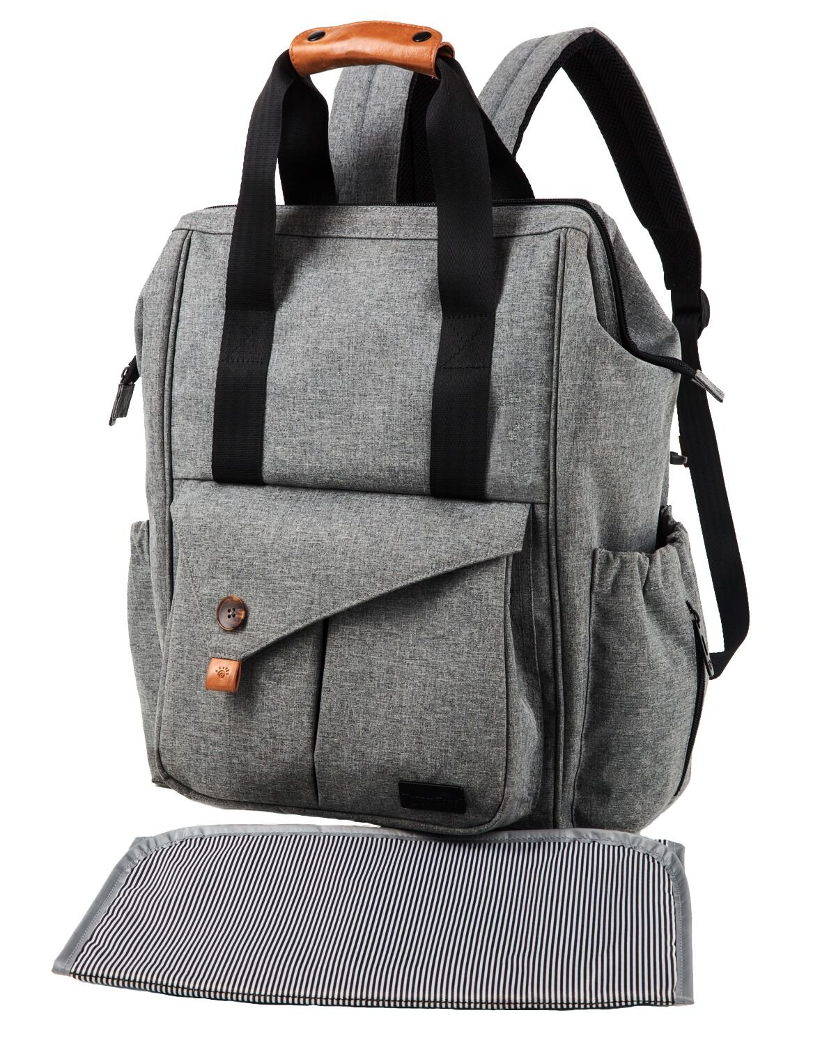 Diaper Bag Backpack with Changing Pad/Insulated Bottle Pockets/Water Resistance (grey-5279) by Hap Tim