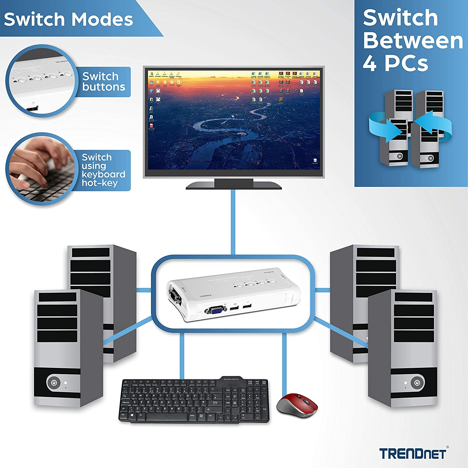 Renewed VGA /& USB Connections TK-407K Cabling Included TRENDnet 4-Port USB KVM Switch Kit 2048 x 1536 Resolution Control up to 4 Computers