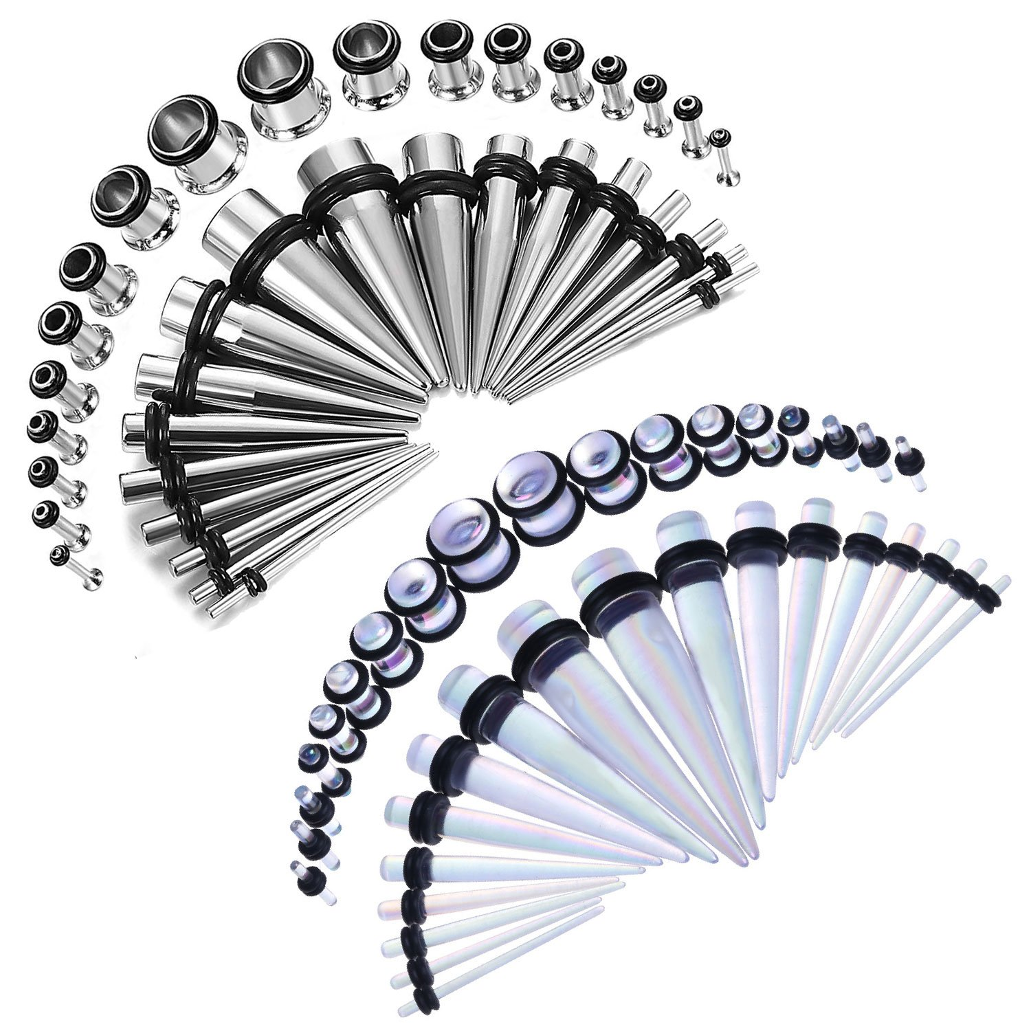 BodyJ4You 72PCS Gauges Kit 14G-00G Single Flare Acrylic Steel Tunnel Plug Taper Stretch Jewelry GK0489