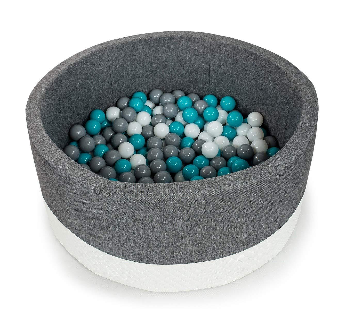 Tweepsy Soft Baby Round Ball Pool Pit 250 Balls 90x40cm Handmade EU - BKOE2N - eco-Grey Pool: Turquoise, White, Grey