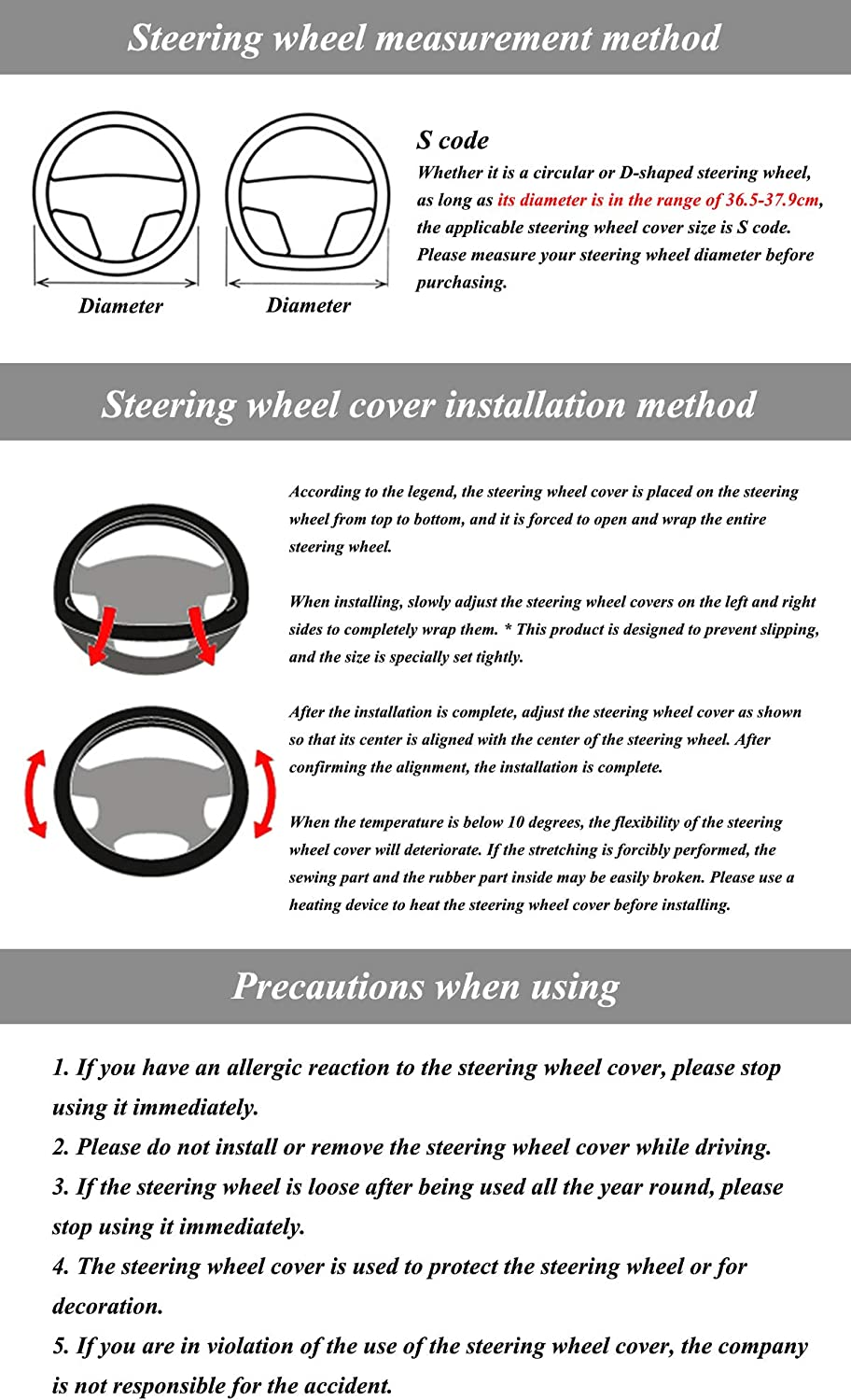 Anti-slip Universal 37-38 cm //14.5-15 inch D Shape Flat Bottom Steering Wheel Cover Breathable Blue Car Leather Steering Wheel Cover Fit Flat Bottom Steering Wheel with Pattern Design