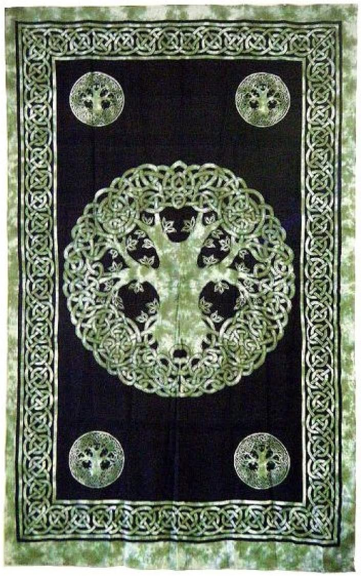 Beautiful Green Celtic Tree of Life Tapestry 72 x 108