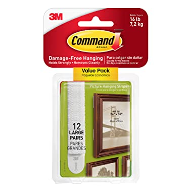 Command 17206-12ES CMD LG PICT Hang Strip, 12 Pairs, White, Picture