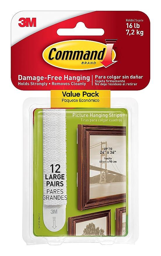 Command Tiras para colgar marcos, tamaño grande, color blanco, 4 ...