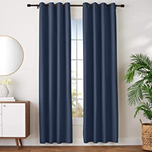 "AmazonBasics Room Darkening Blackout Window Curtains with Grommets- 52"" x 96"", Navy, 2 Panels"