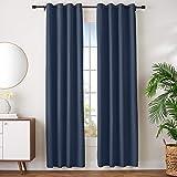 "Amazon Basics Room Darkening Blackout Window Curtains with Grommets - 52"" x 96"", Navy, 2 Panels"
