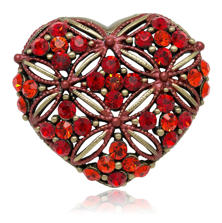 Akianna Antique Gold-tone Swarovski Element Red Crystals Valentine Heart Pin Brooch