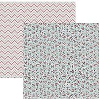 Kit Folhas para Scrapbook DF Coleções Nuances de Jardim Rosas com Chevron, Toke e Crie SDF759, Multicor, Pacote de 12