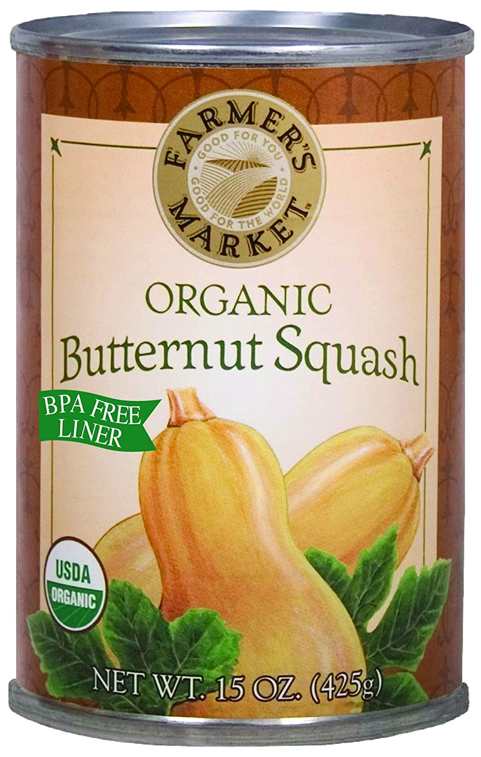 Farmer's Market Foods Canned Organic Butternut Squash Puree, 15-Ounce (Pack of 12)