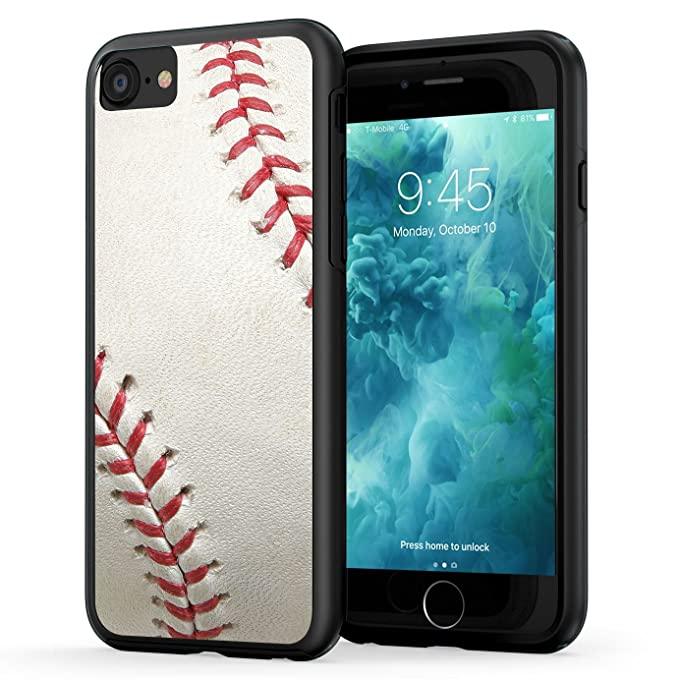 official photos 17e7c 71f2b True Color Case Compatible with iPhone 7 Case & iPhone 8 Sports Case,  Baseball Sports Collection Slim Hybrid Hard Back + Soft TPU Bumper  Protective ...