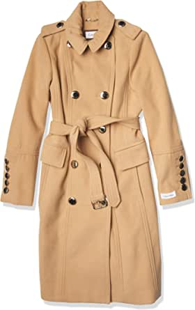 CALVIN KLEIN Womens Double Breated Wool Coat with Belt