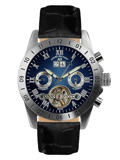 André Belfort 410016 - Reloj analógico de caballero automático con correa de piel negra - sumergible a 50 metros: Amazon.es: Relojes