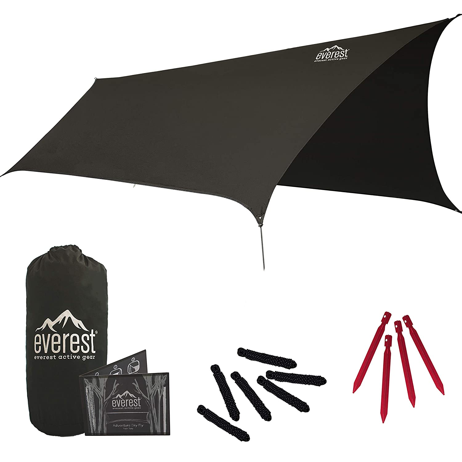 Everest Hammock Rain Fly | Waterproof Outdoor Tarp | Perfect for Camping, Backpacking, Tents, Hammocks, and More | Ripstop Nylon | Lightweight Aluminum Stakes Included- Gray [並行輸入品] B07R4TS87X