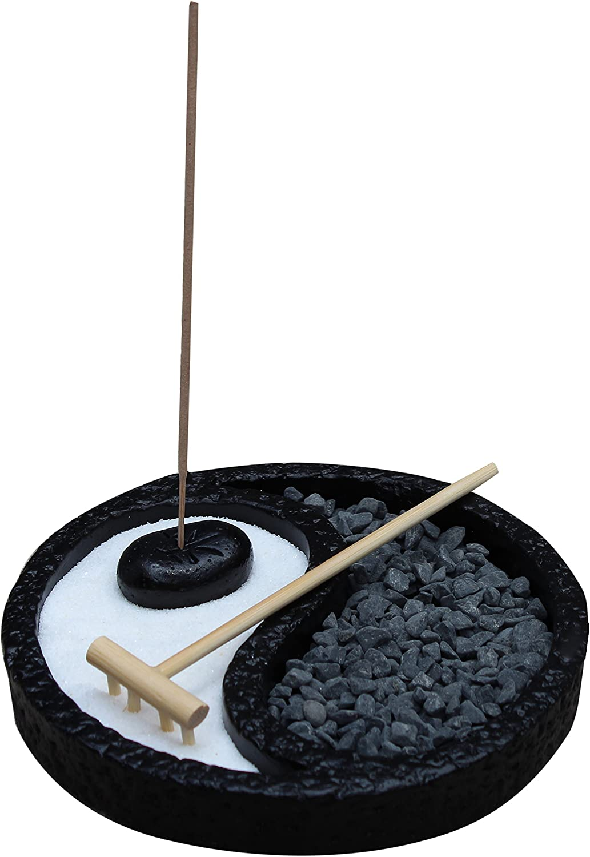 Black Yin Yang Zen Garden Desk Meditation Garden Includes Sand, Rocks, Incense and Incense Holder, Rake - Peace & Tranquility