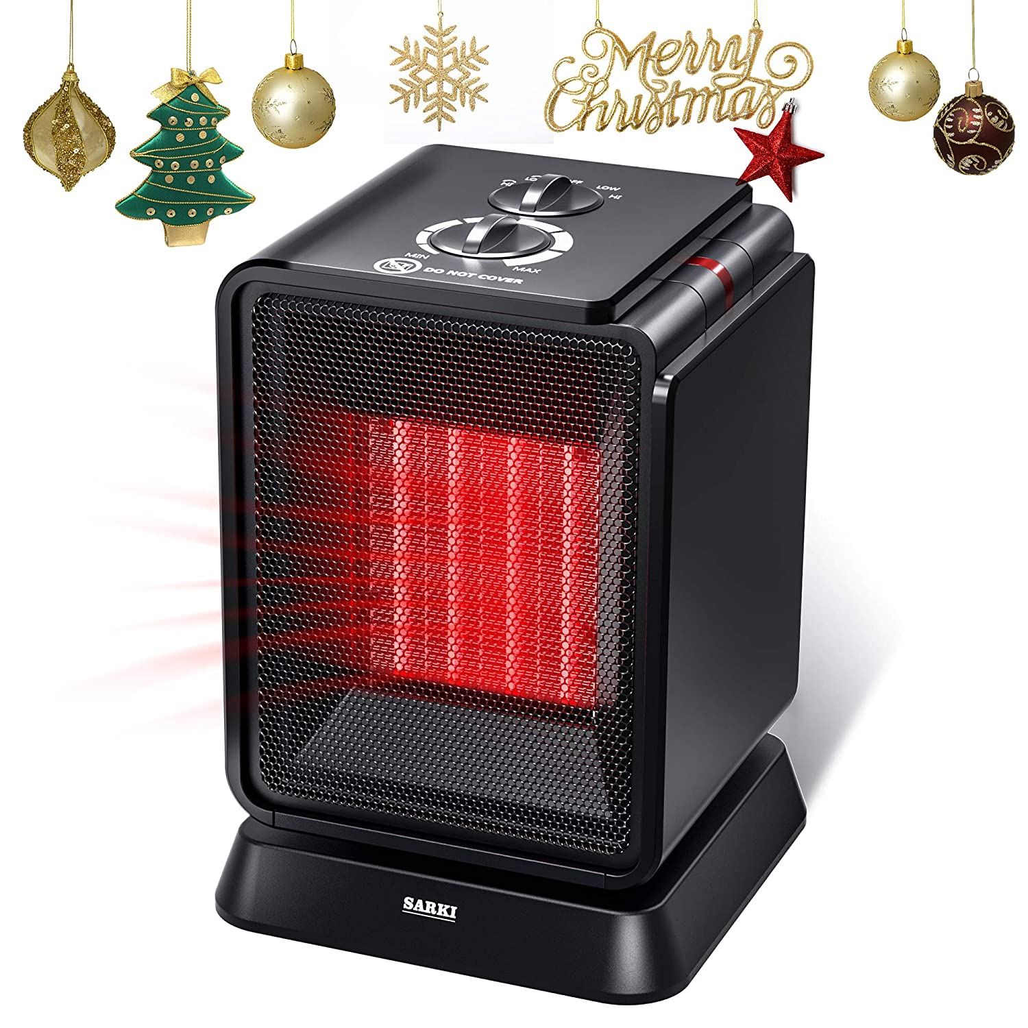 Personal Space Heater, 1500W Electric Ceramic Heater, Portable Mini Heater with Adjustable Thermostat, Oscillation, Tip-Over Protection for Desk Floor Office Home Indoor Use 1500W Mini Heater
