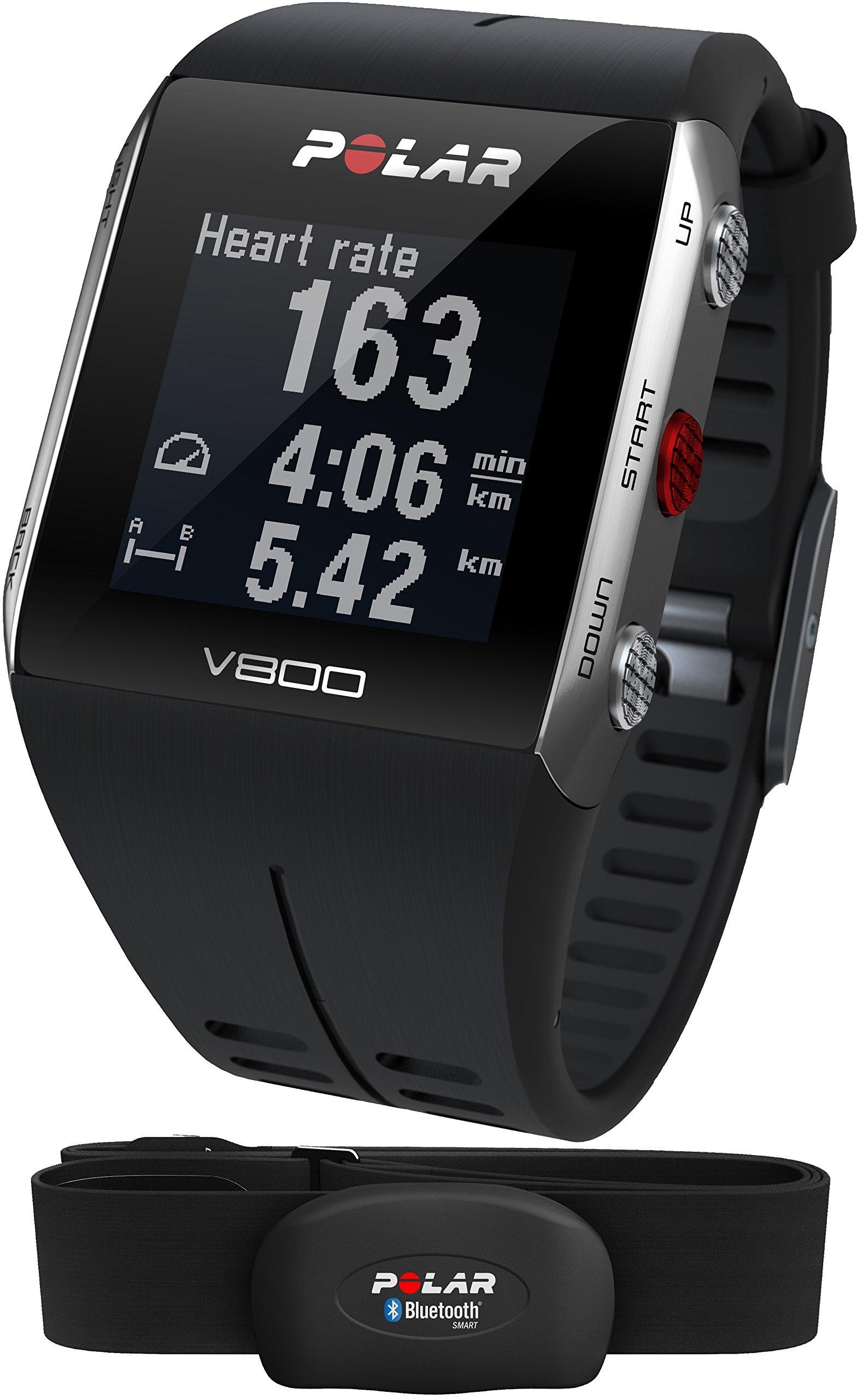 Polar V800 Orologio GPS multisport per monitoraggio attività fisica, altimetro barometrico, con fascia cardio bluetooth smart, Nero/Grigio product image