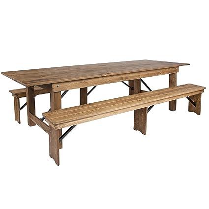 Flash Furniture HERCULES Series 9u0027 X 40u0027u0027 Antique Rustic Folding Farm Table  And